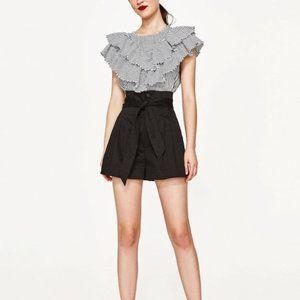 Aritzia Wilfred Marne Paperbag Linen Shorts Grey